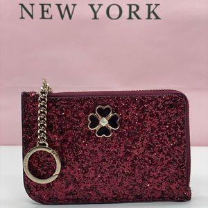 Kate Spade L-ZIP Card Holder Wallet Odette Glitter